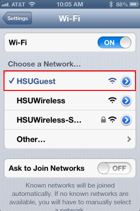 Step 1: Click or tap on the Wi-Fi icon in the settings menu bar and ensure Wi-Fi is turned ON. Click on the Wi-Fi icon in the status menu bar again and connect the Wi-Fi to HSUGuest.