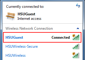 Step 1: Click on the Wireless Network icon in the System Tray to display the available wireless networks: