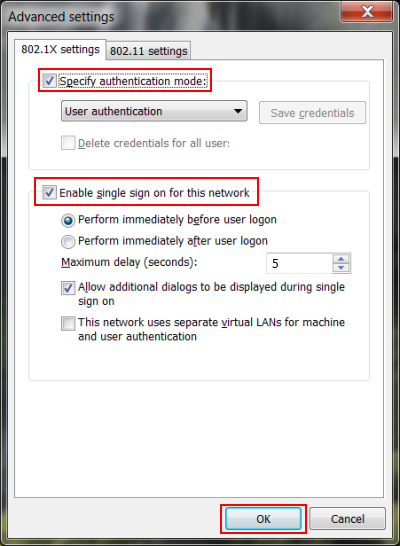 On the 802.1x settings tab - Check Specify authentication mode and select User authentication. Ensure that Enable single sign on for this network is checked, then Click OK