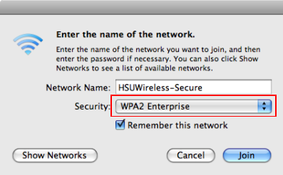Set Security Type to WPA2 Enterprise