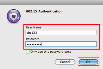 You will now be prompted for your 802.1X Authentication credentials. - Enter your HSU User Name and Password. -Then Click OK.