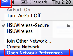 Click on the Airport Radio icon in the Status Menu Bar. - Click Open Network Preferences.