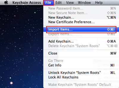 With the Keychain Access window now open, go to the Keychain Access menu at the top and select File and then click on Import Items.