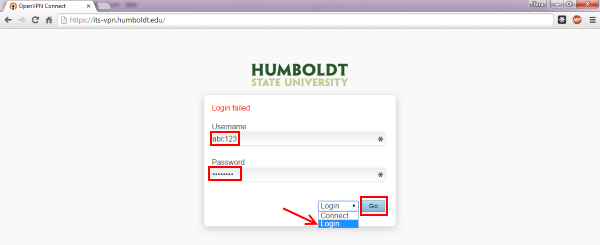 "Enter your HSU User Name and Password. Then click the dropdown arrow to change the option from ""Connect"" to ""Login"" then Click Go."