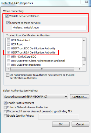 "Ensure Validate Server Certificate is checked. - Check the box next to ""Connect to these servers"" and enter wireless.humboldt.edu"