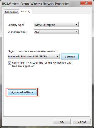 Then click OK twice to return to the HSUWireless-Secure Wireless Network Properties Security tab.