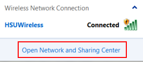 Click Open Network and Sharing Center