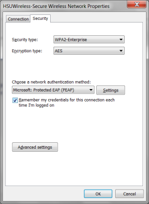Select the Security tab. - Select WPA2-Enterprise for Security type. - Select AES for Encryption type. - Choose a network authentication method Microsoft: Protected EAP (PEAP). - Ensure Remember my credentials for this connections each time I'm logged on is checked.