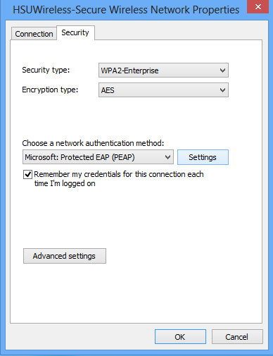 One the security tab ensure the setting match what is shown below:      Select WPA2-Enterprise for Security type.     Select AES for Encryption type.     Select Microsoft: Protected EAP (PEAP) as the network authentication method.     Ensure Remember my credentials for this connections each time I'm logged on is checked.  Click on the Settings button next to Microsoft: Protected EAP (PEAP).