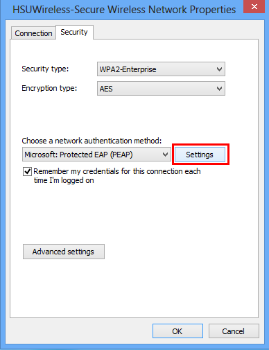 Then Click on the Settings button next to Microsoft: Protected EAP (PEAP).
