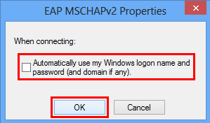Ensure that Automatically use my Windows logon name and password (and domain if any) is unchecked.