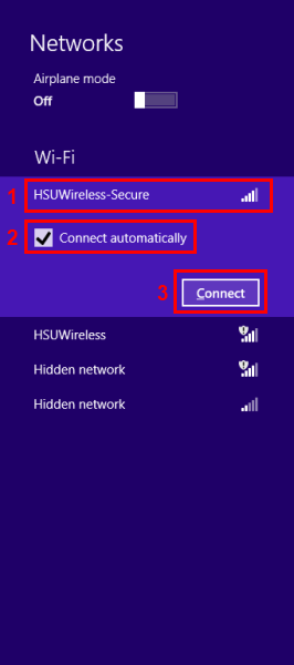 Click on the network HSUWireless-Secure      Ensure Connect automatically is checked.     Then Click the Connect button.