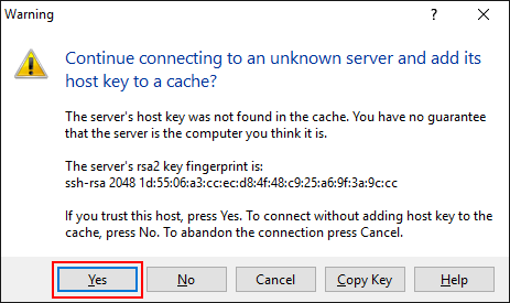 If you see the following Warning alert to Continue connecting to an unknown server, Click Yes.