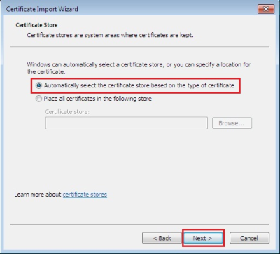 Now, click the radio button titled Automatically select the certificate store based on the type of certificate, then click Next.