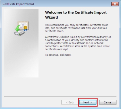 Once you have downloaded the certificates, right-click on the icon(s) one at a time and choose Install Certificate.  The Certificate Import Wizard window will pop up, click Next