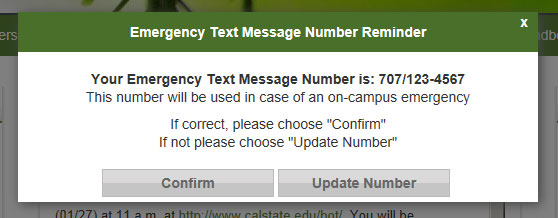 Confirm emergency text notification number pop-up screen