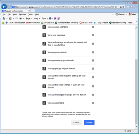 Google Apps Sync screen