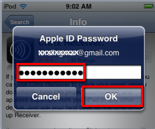 Type in your Apple ID Password, then tap OK
