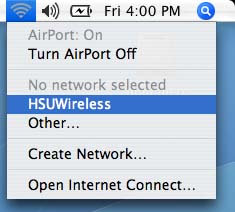 AirPort menubar with HSUWireless highlighted