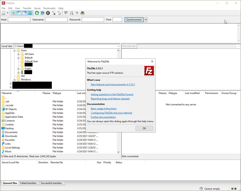 FileZilla - First time launch window