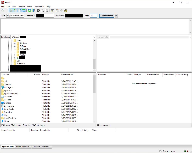 FileZilla - Enter login information