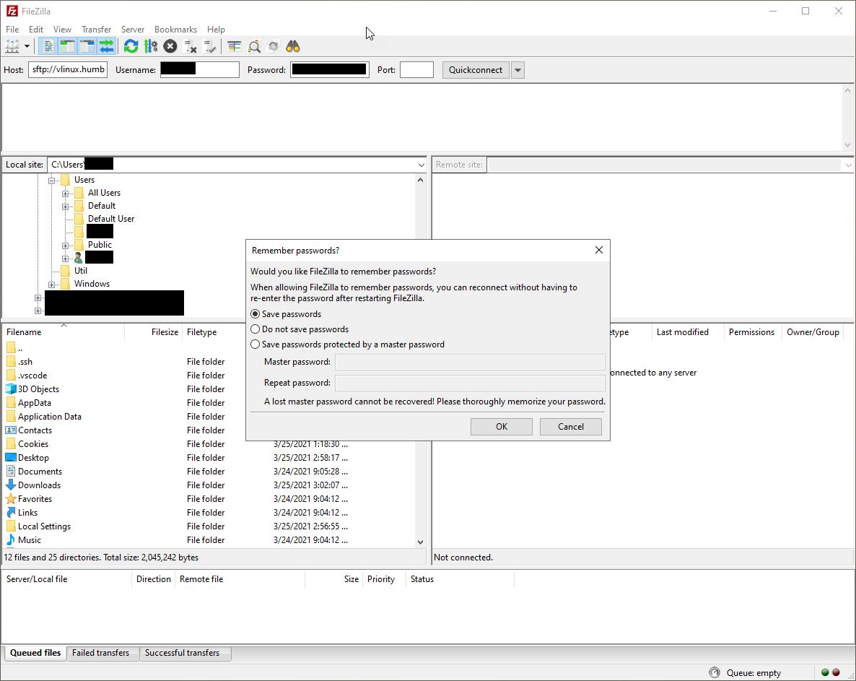 FileZilla - Remember passwords prompt