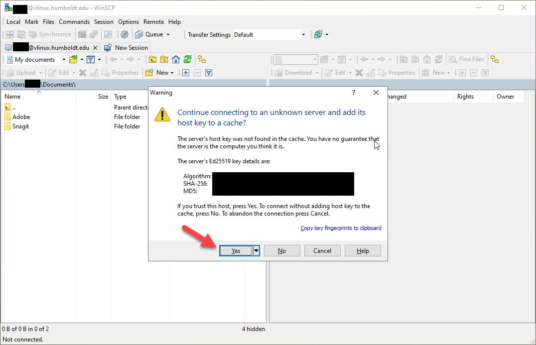WinSCP host key warning window