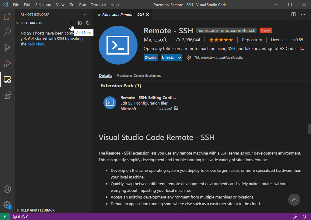 VS Code - Add vLinux Hostname to Remote - SSH Extension