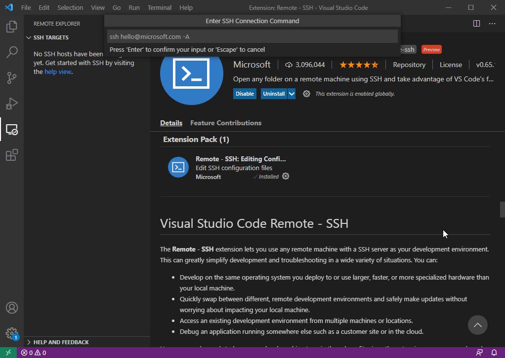 VS Code - Enter SSH Connection Command