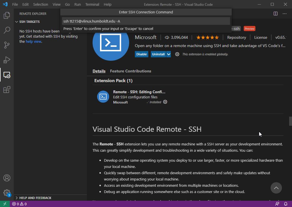 VS Code - Adding vLinux hostname to Remote - SSH extension