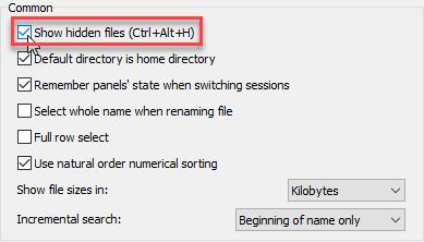 WinSCP preferences window - Show hidden files checkbox