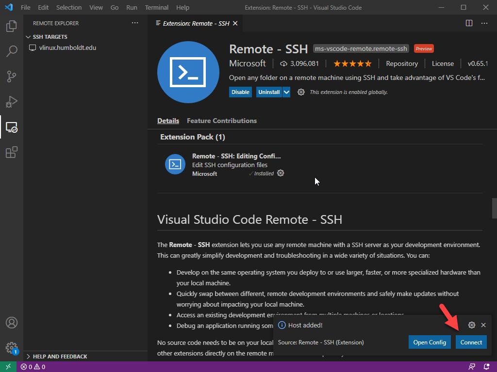 VS Code - Host added pop-up