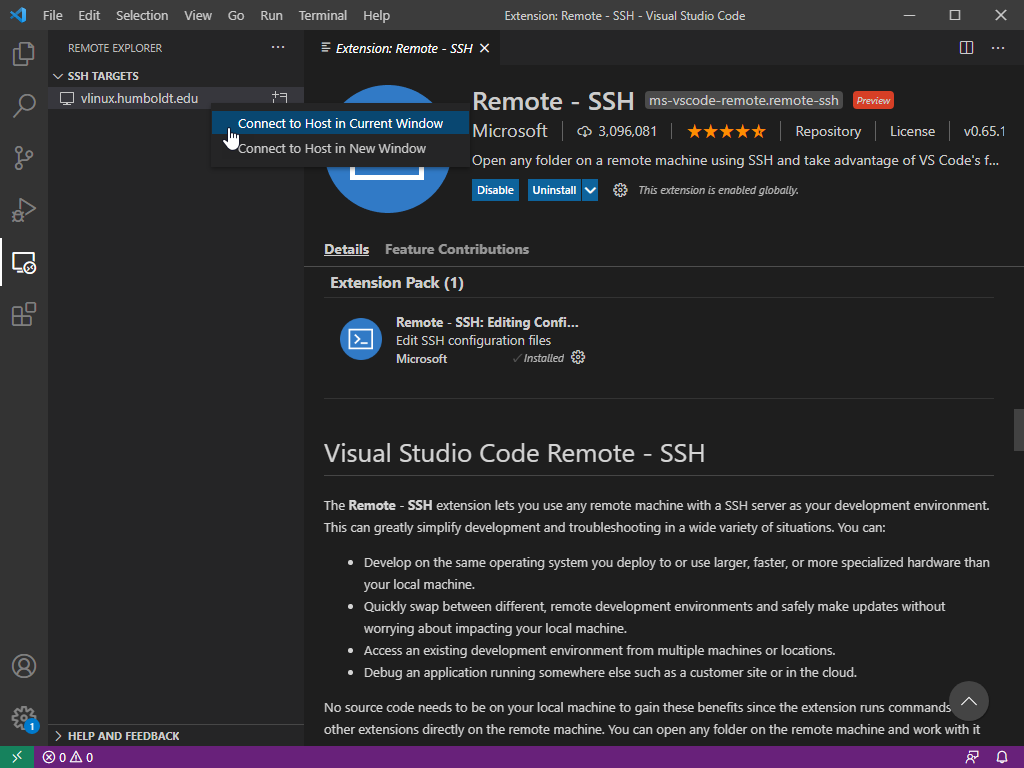 VS Code - Click Connect to Host in Current Window