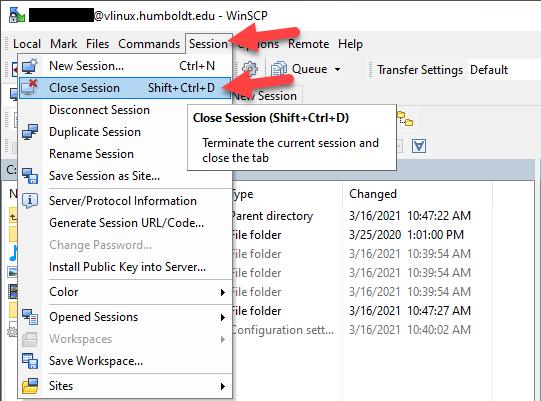 WinSCP window - Session - Close Session context menu