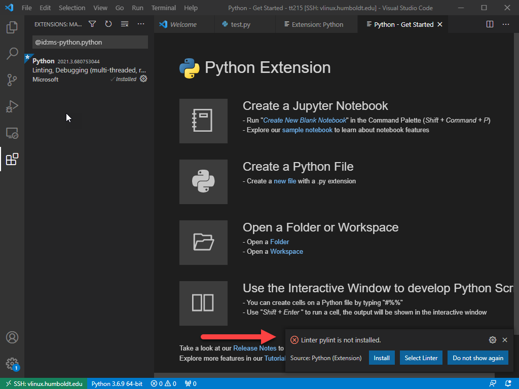 VS Code -  Click install to install additional extension if prompted
