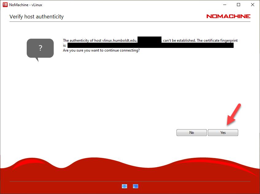 NoMachine - Verify host authenticity