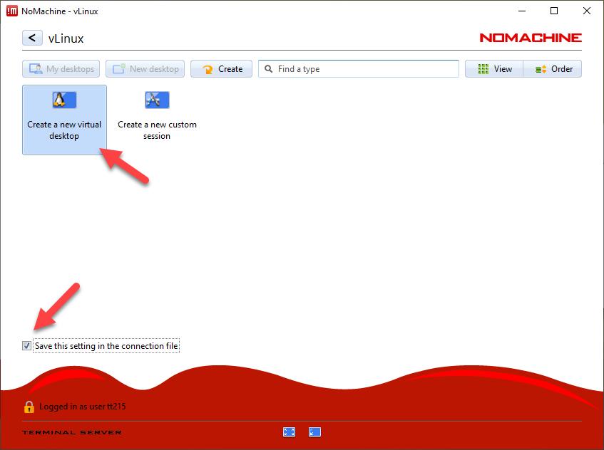 NoMachine - Create a new virtual desktop
