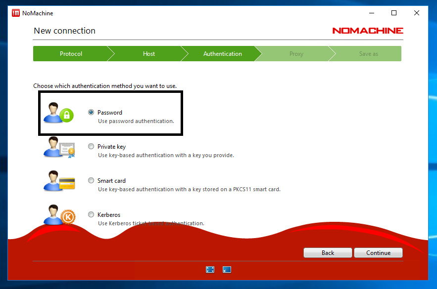 Choose Password as your authentication method and click Continue: