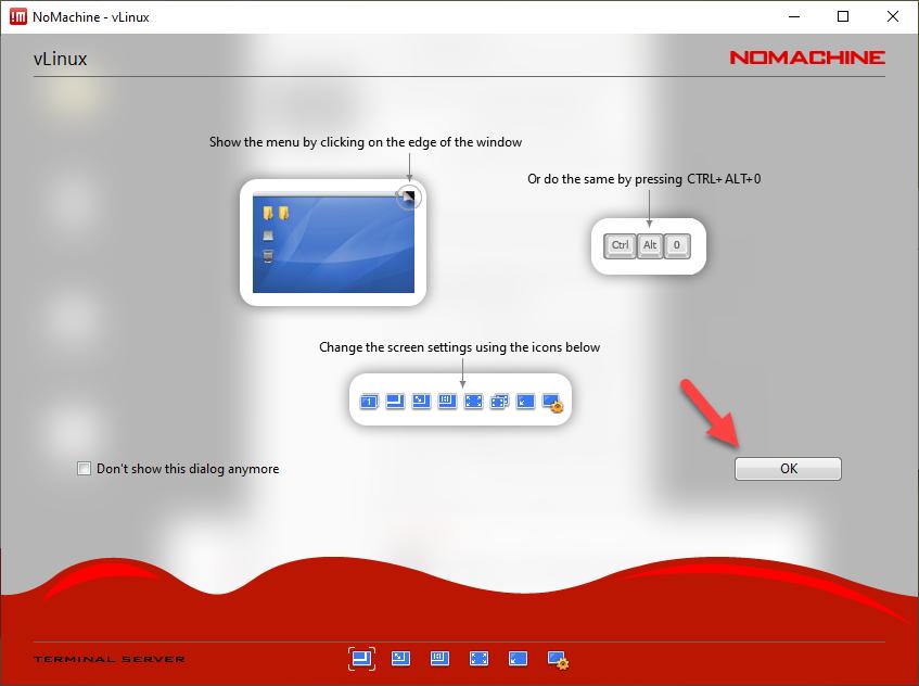 NoMachine - Tips screen