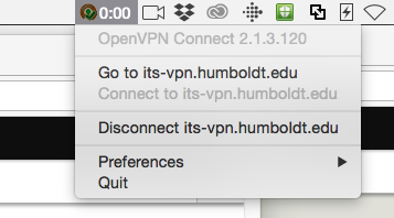 OpenVPN icon in menu bar showing details