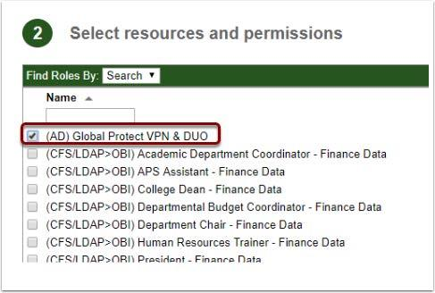 Image showing (AD) Global Protect VPN & DUO selected