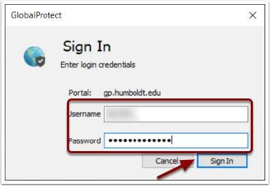 Image of Sign In window. Enter Username and Password and Click Sign In
