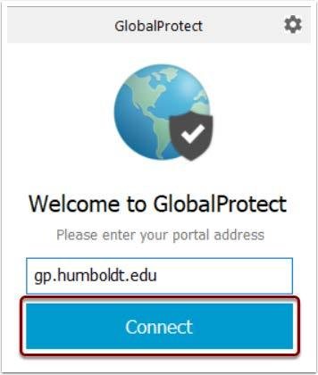 Image of GlobalProtect login. Click Connect button.