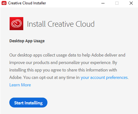"Click on the blue ""Start Installing"" button.  The installation may take several minutes."