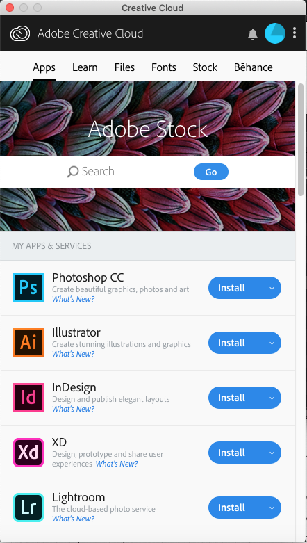 The Adobe Creative Cloud application should then install and start automatically